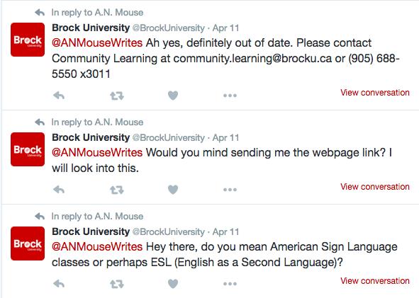 Brock University excellent social responses strategies