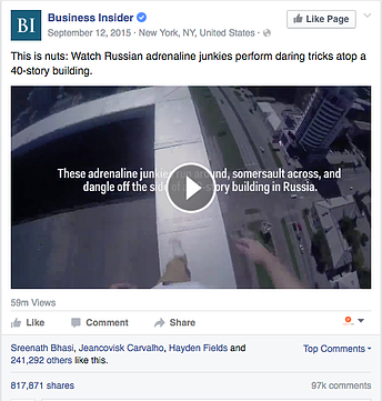 Engagement Labs | Business Insider Social example